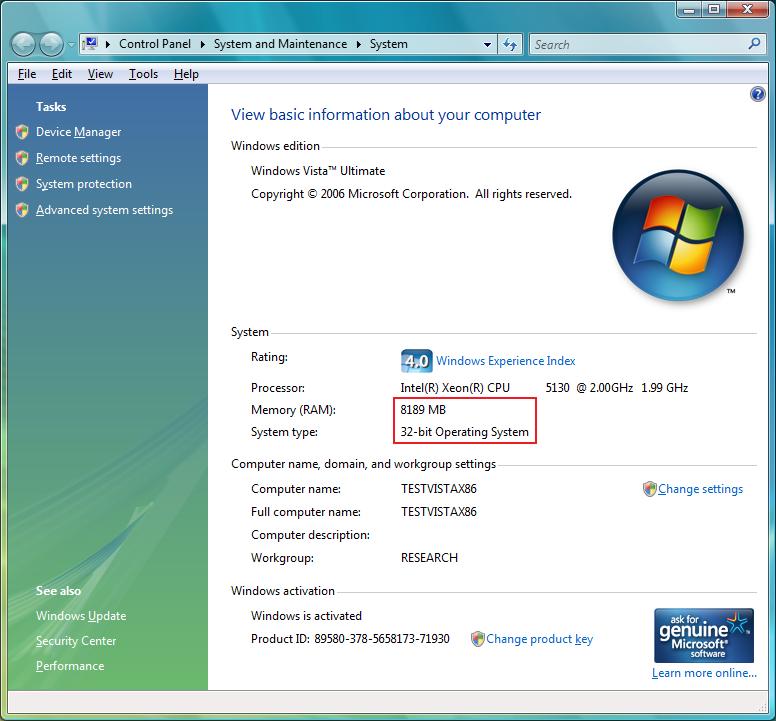 Licensed Memory In 32 Bit Windows Vista